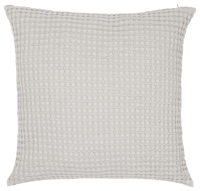 Squares Waffle Cotton Pillow Cover, Light Gray, 20x20.