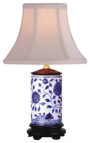 Flowers Porcelain Cylinder Table Lamp, Blue And White.