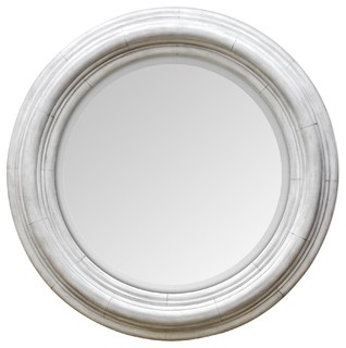 Joshua Round Wooden Mirror, Ivory - Farmhouse - Wall Mirrors - by Uttermost