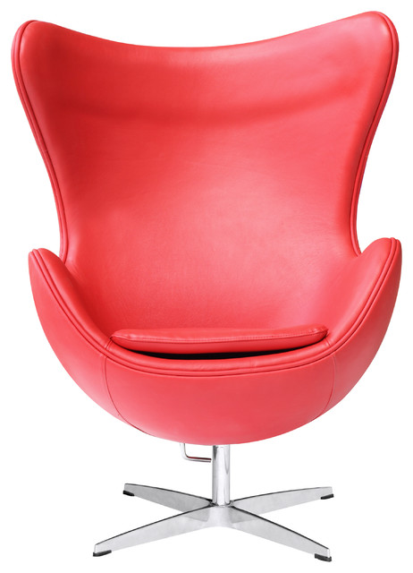 Egg Chair In Leather By Lemoderno Red