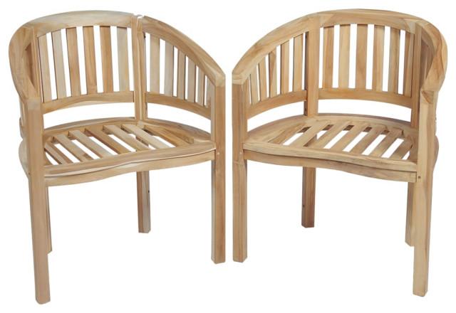 vidaXL Teak Banana Chairs, Set of 2