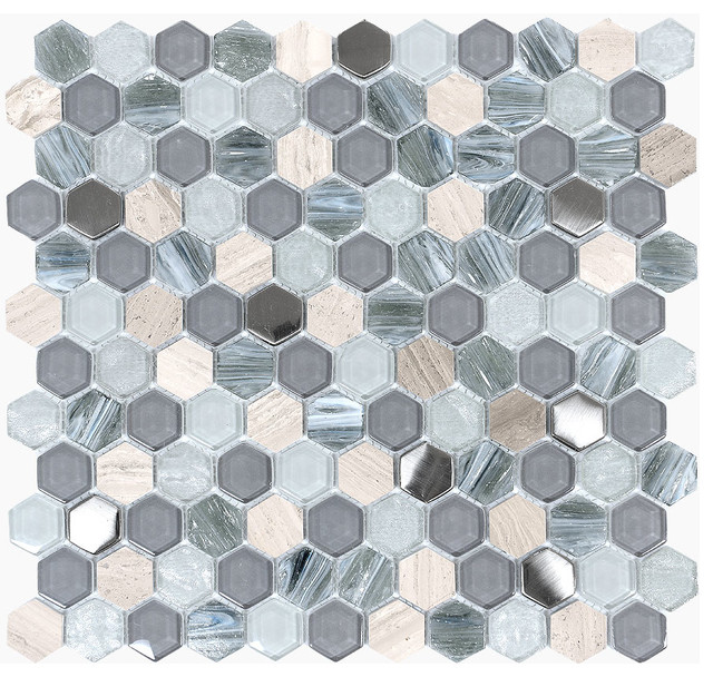 Blue Gray Gl Marble Hexagon Mosaic Tile
