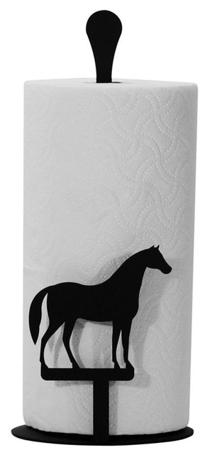 Village Wrought Iron Paper Towel Stand, Horse.