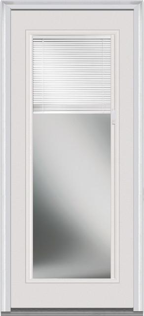 Mini Blinds Full Lite Fiberglass Smooth In Swing Front Door Contemporary Front Doors By
