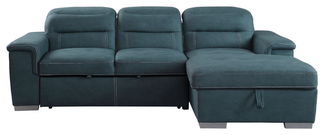 Brooks 2-Piece Set Sectional Sofa With Pull-Out Bed And Storage, 2-Tone,  Blue