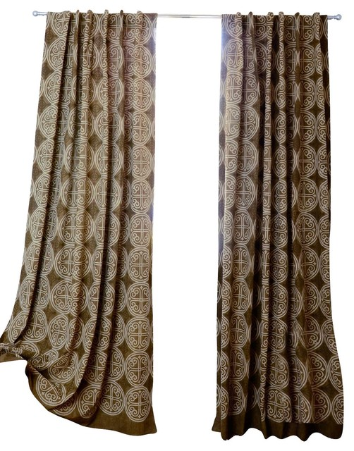 Greece Block Print Medallion Window Curtains, Brown.