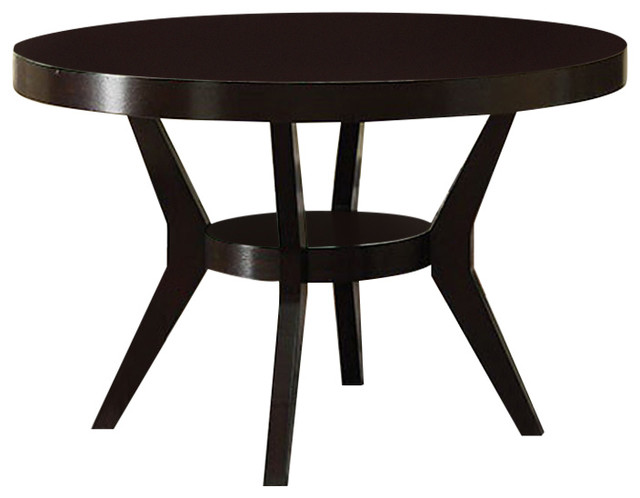 Downtown I Contemporary Round Dining Table, Espresso.