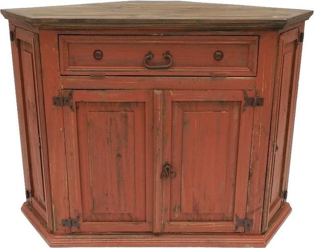 Rustic Antique Red Corner Tv Stand