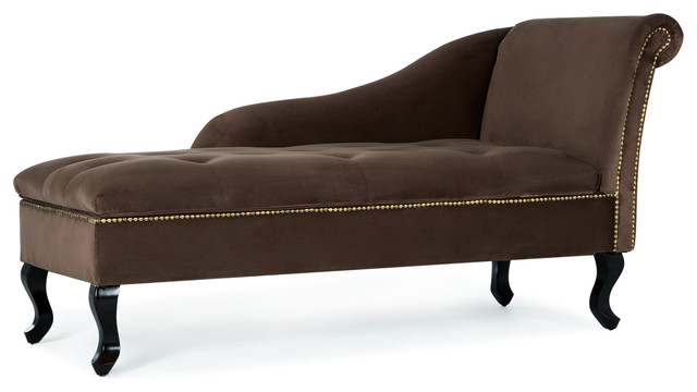 Nailhead Trim Velveteen Button-Tufted Storage Chaise, Brown.