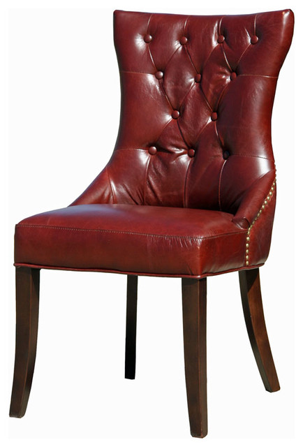 antique burgundy top grain leather dining room kitchen chair - traditional - dining chairs