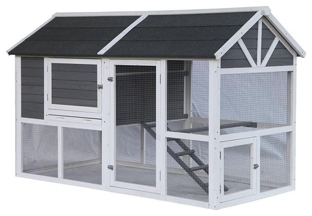 Multi Level Barn Style Fir Wood En Coop Hutch 3 Nesting Areas