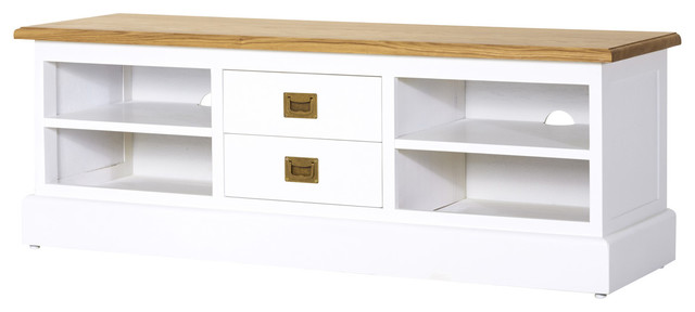 Meuble tv blanc en bois de ch ne 130 cottage bord de mer solution m dia e - Meuble tv bord de mer ...