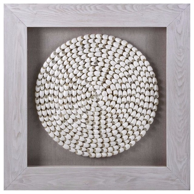 Innovative Cocoon Art, Shadowbox, Gray And White. -1