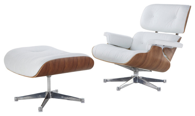 Merveilleux Midcentury Modern Lounge Chair And Ottoman, White Italian Leather, Walnut