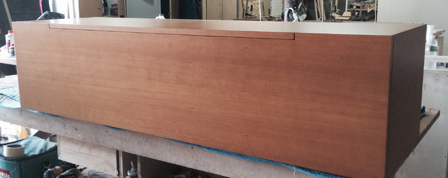 Custom cherry wood wall mounted buffet /sideboard (After Completion)