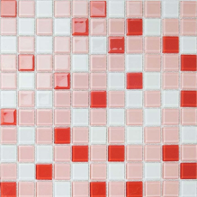 Red White Mix Mosaic Brick Crystal Glass Tile Bathroom Wall Stickers Modern