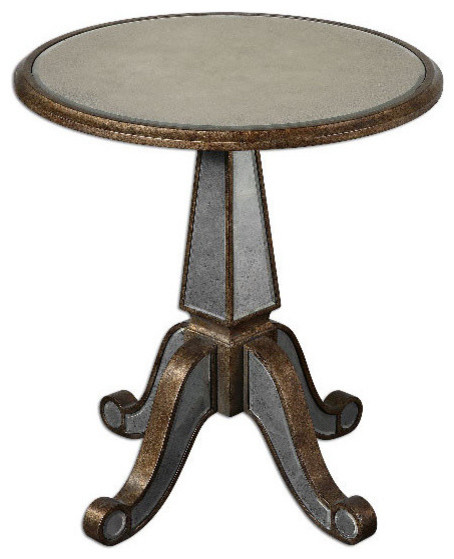 Round Mirrored Gl And Wood Accent Table