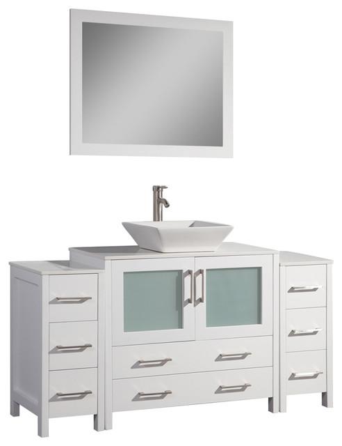 Watson Bathroom Vanity, White, Single Basin, 2 Side Cabinets, 60.