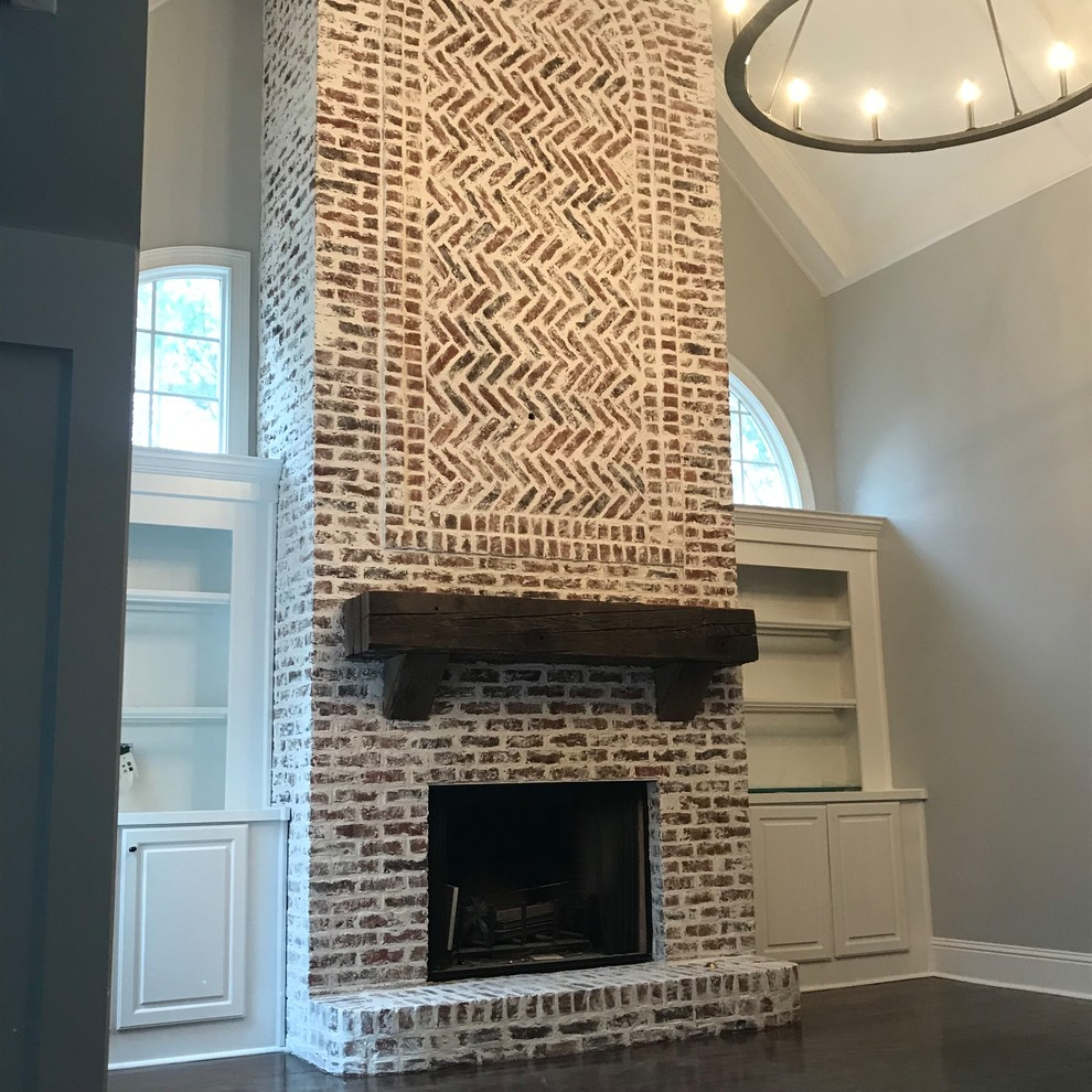 German Schmear On Two Story Brick Fireplace