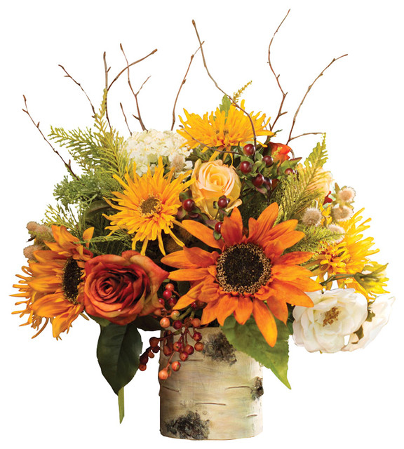Autumn Sunrise Silk Flower Centerpiece Contemporary