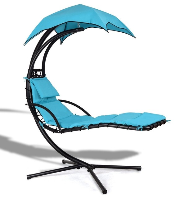 Modern Hanging Arc Stand Porch Swing Hammock Chair With Canopy.