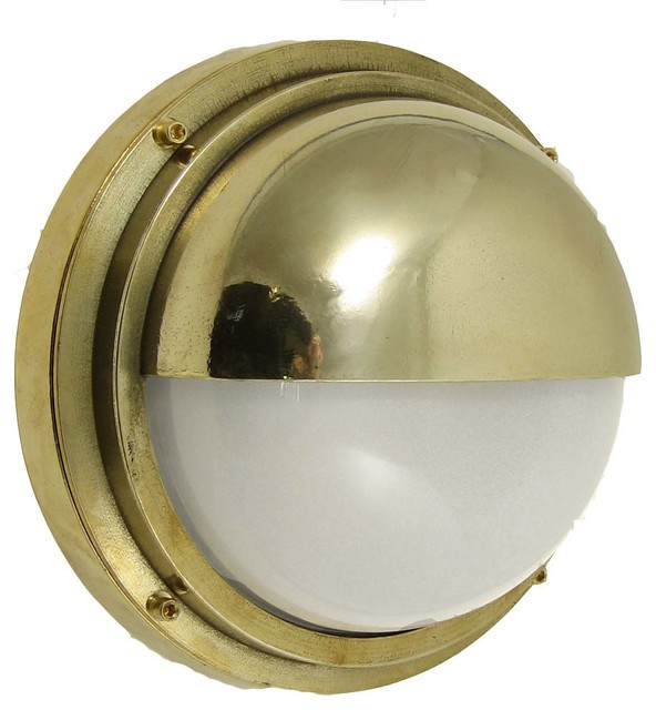 Shiplights Bulkhead Light With Hood Solid Brass Ul Interior Exterior Use By Shiplights
