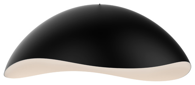 Waveforms Small Dome Led Pendant, Satin Black Finish With White Interior Shade.