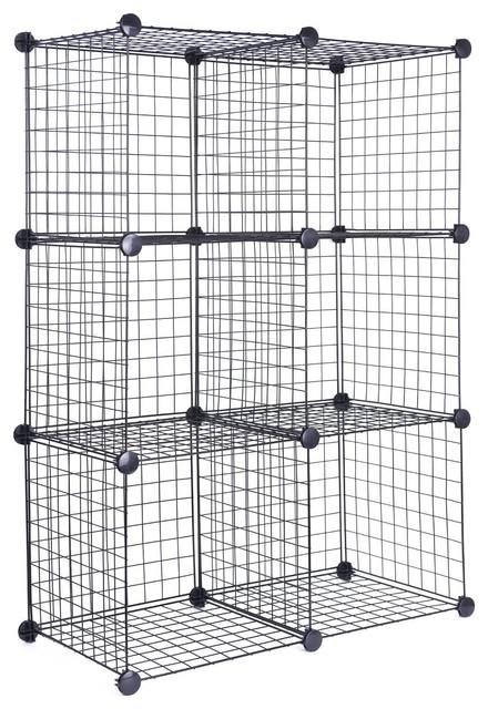 J.S. Hanger White Wire Storage Cubes, Set Of 6, Clothes Organizer  Contemporary Closet