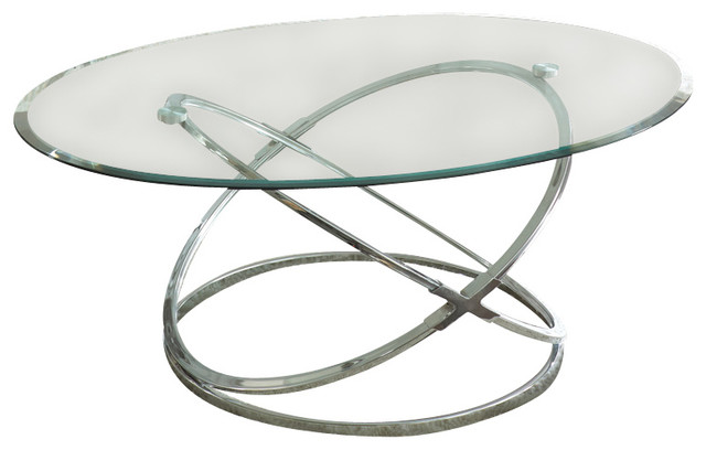steve silver orion 3-piece glass top coffee table set with chrome