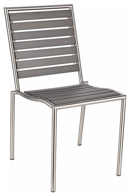 Tarou Stainless Steel Outdoor Chair Slate Gray Poly Wood Brushed Nickel Fini
