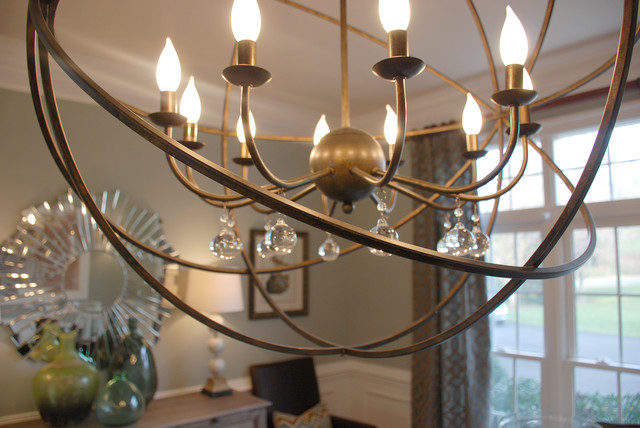 dining room with orb chandelier transitional dining room