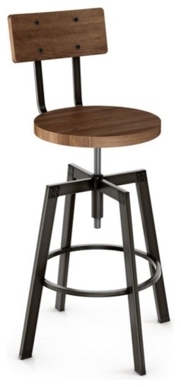 Adjustable Screw Stool With Wood Seat, Toasty, Counter Seat
