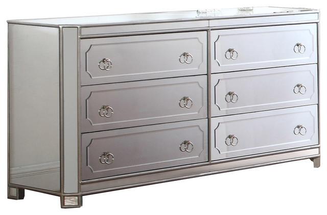 Mya Silver Mirrored 6 Drawer Dresser