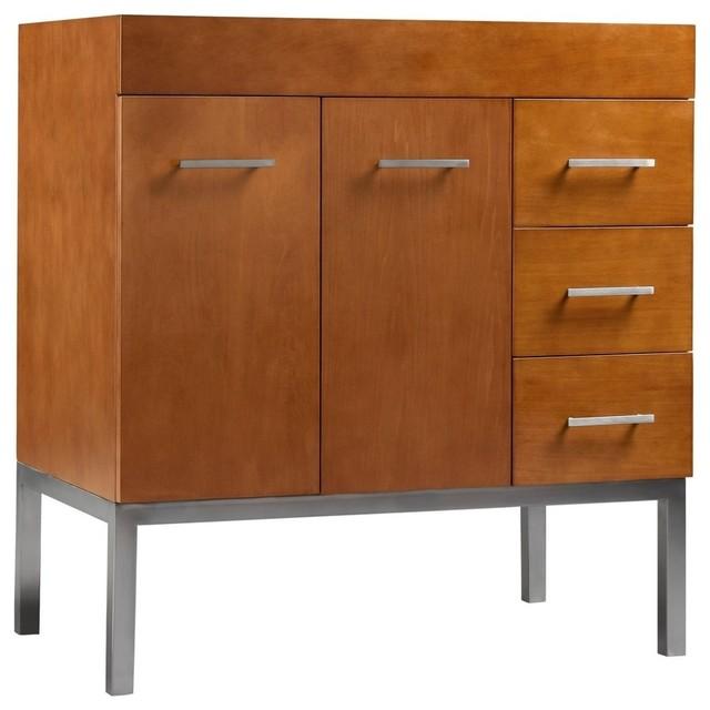 Ronbow Venus Solid Wood 36 Vanity Base Cabinet Cinnamon Doors On Left Contemporary