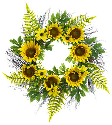 Silk Plants Direct Daisy, Sunflower And Succulent Wreath, Set Of 1.