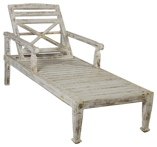 Solid teak wood beach chaise lounge chair faded white for Antique wooden chaise lounge