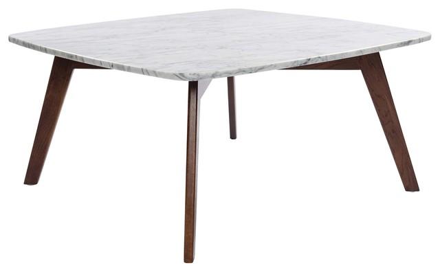 Vezzana Square Italian Carrara White Marble Coffee Table With Walnut Legs