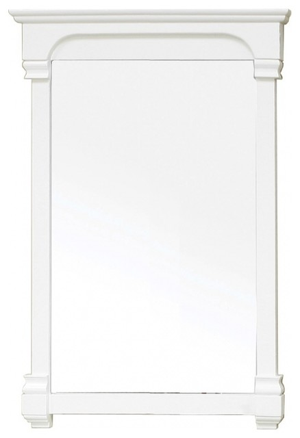 Rectangular solid wood white frame mirror traditional - White wood framed bathroom mirrors ...