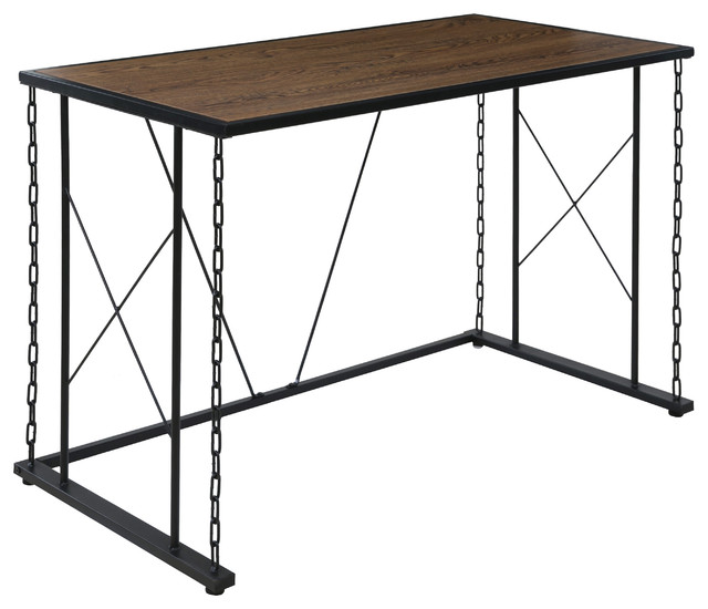 Folsom Ridge Desk, With Wood And Black Chain Link Metal.