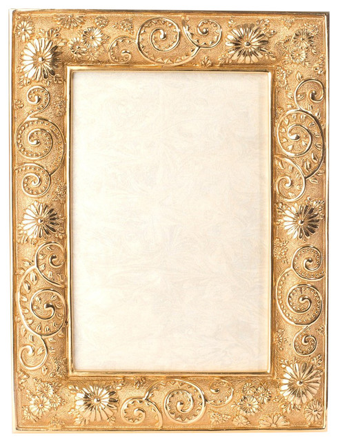 Jay Strongwater Viola Flower Scroll Frame - Traditional - Picture ...