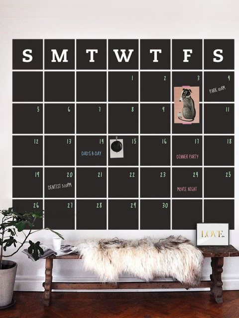 Chalkboard Calendar Wall Decal Extra Large Contemporary Wall