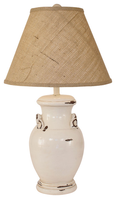 Distressed Crock Table Lamp With Handles Light Nude