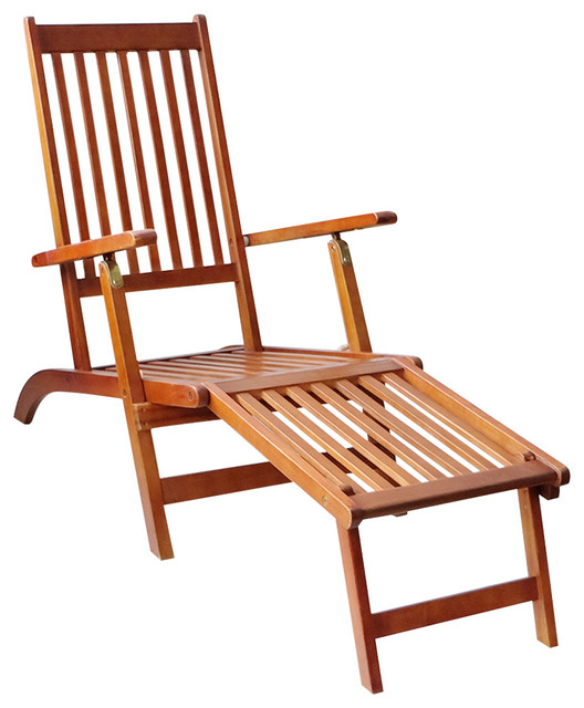 vidaXL Outdoor Deck Chair With Footrest, Acacia Wood