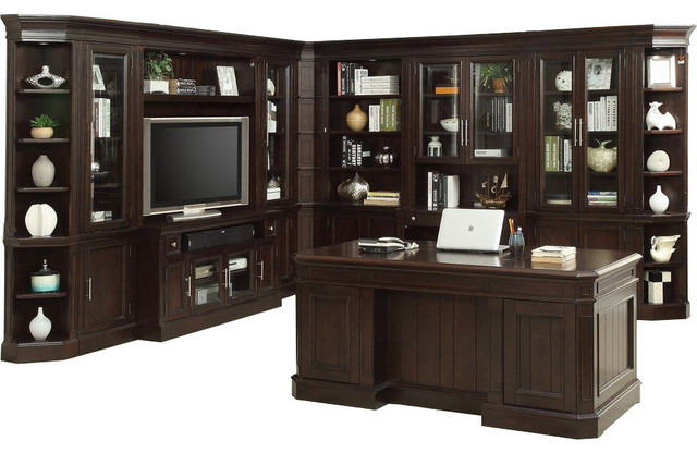 Parker House Stanford 11-Piece Entertainment/library Wall, Executive Desk Set.