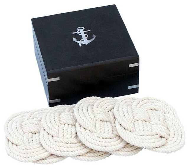 Wooden Rope Coasters With Black Wood Box 4'', Set of 6, Nautical Decoration