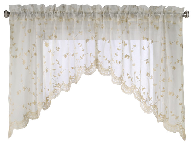 "Grandeur Pole Top Swags, Set Of 2, Cream, 80""x36""."