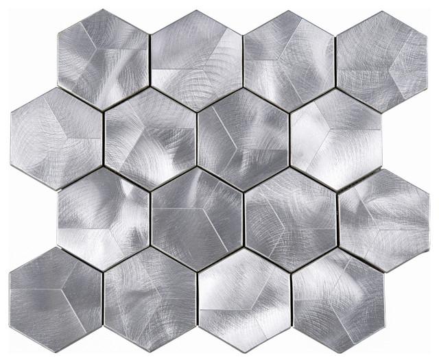 Leon Hexagon Aluminum Mosaic Tile Sheet