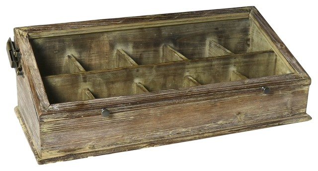 Vintage Antique Style Wood Glass Tabletop Display Case Hinge Lid Divided Farmhouse Decorative Boxes By My Swanky Home