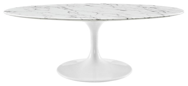 Lippa 48 Oval Shaped Artificial Marble Coffee Table White