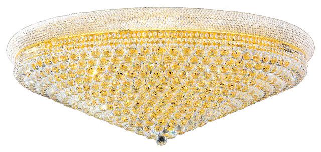 "Empire 33 Light Gold Finish Crystal 48"" Round Flush Mount Ceiling Light, Large"